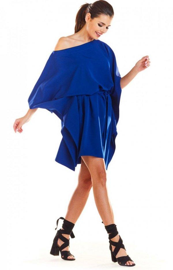 Kimonowa niebieska sukienka M1962