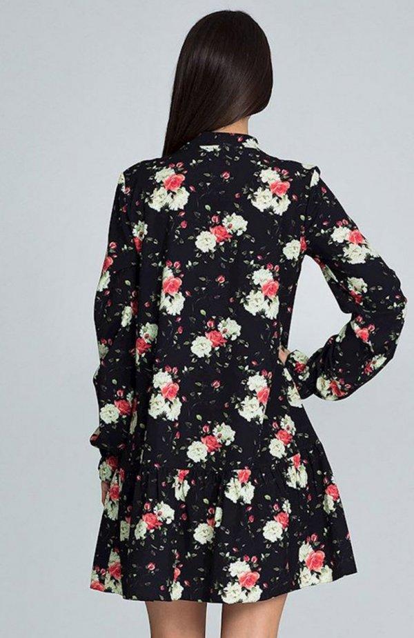 Figl M599 Wzór 75 sukienka w kwiaty tył