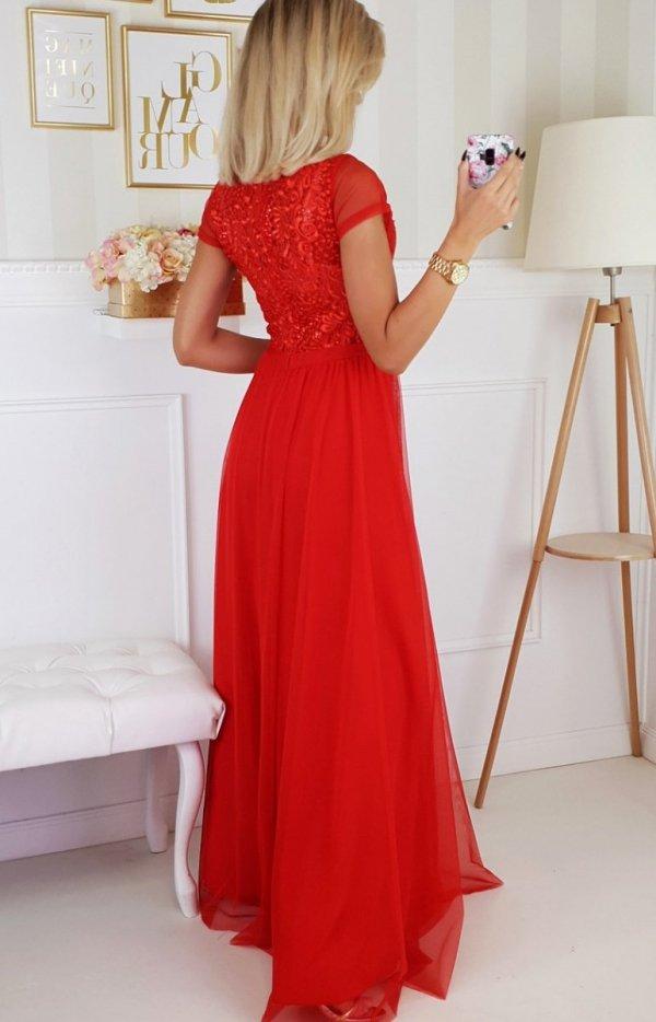 Wieczorowa długa sukienka czerwona 2187-02 tył