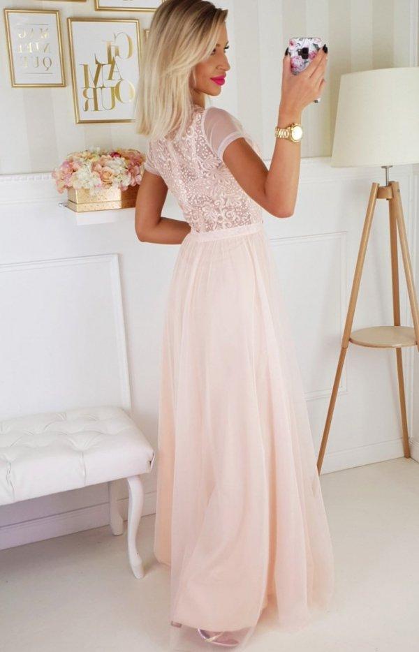 Wieczorowa długa sukienka brzoskwiniowa 2187-17 tył