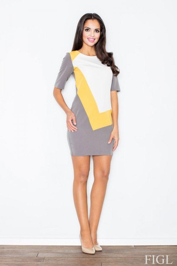 Figl M118 sukienka żółta