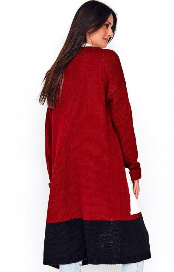 Długi trójkolorowy sweter kardigan bordowy S70 tył