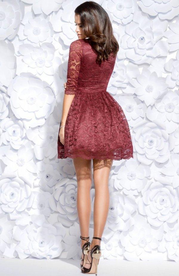 Bicotone 2128-10 sukienka bordowa tył