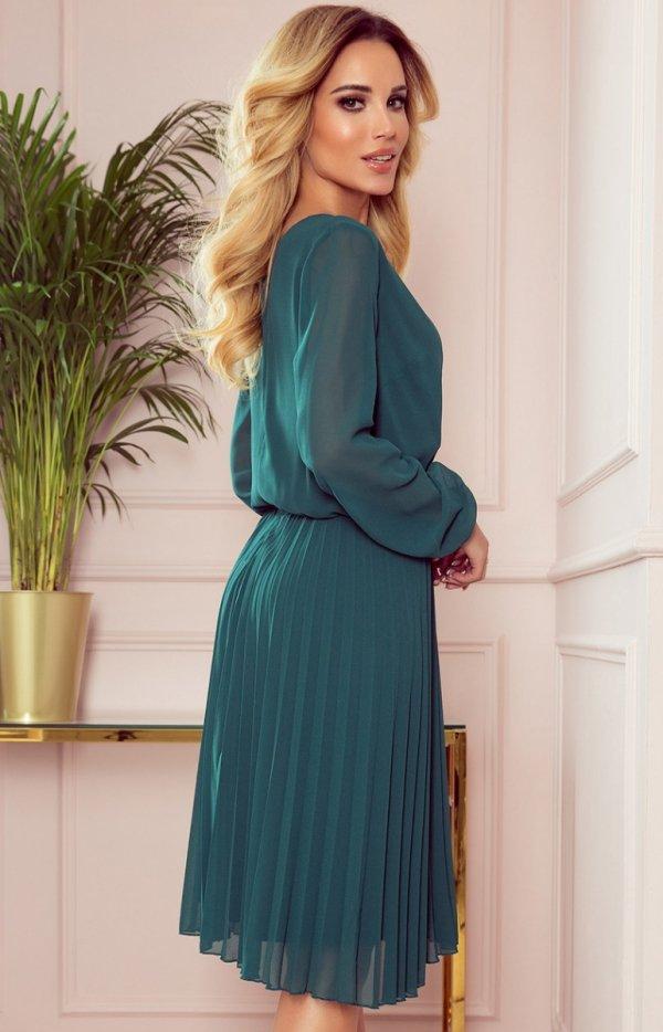 Elegancka sukienka z plisowaniem Numoco 313-1 tył