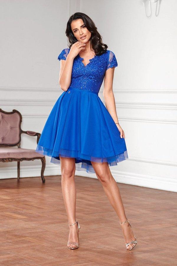 Sukienka z koronkową górą chabrowa 2180-05_2