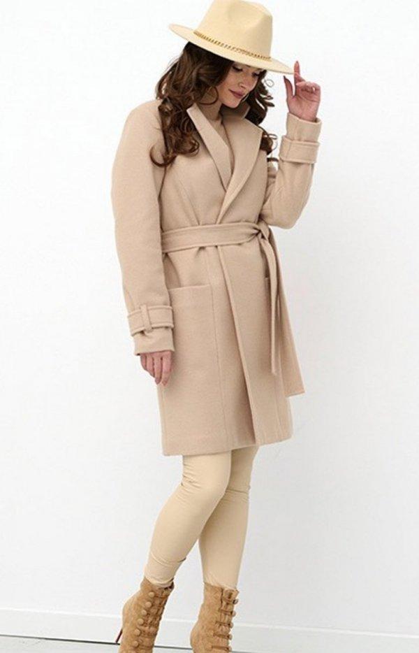 Wiązany płaszcz damski 0019-1