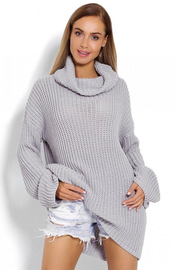 PeekaBoo 70012 gruby sweter golf szary