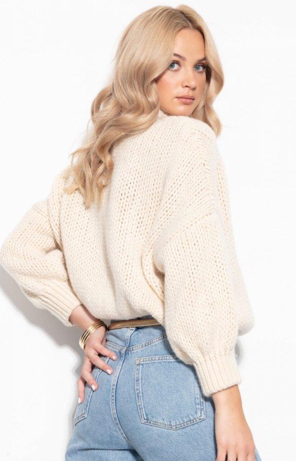 Oversizowy sweter z kaszmirem ecru F1110 tył