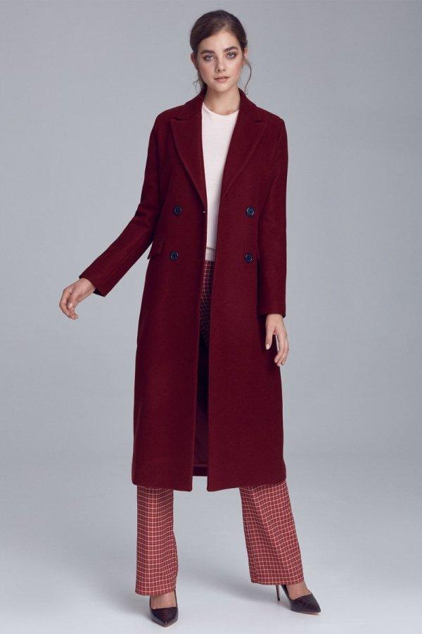 *Długi ciepły płaszcz bordowy Nife pl06