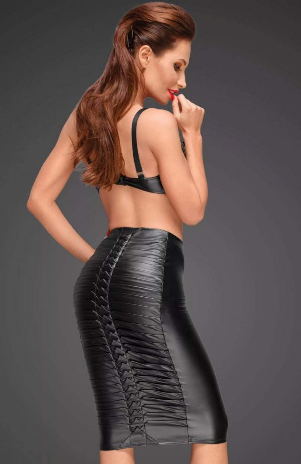 Noir F177 spódnica skórzana tył