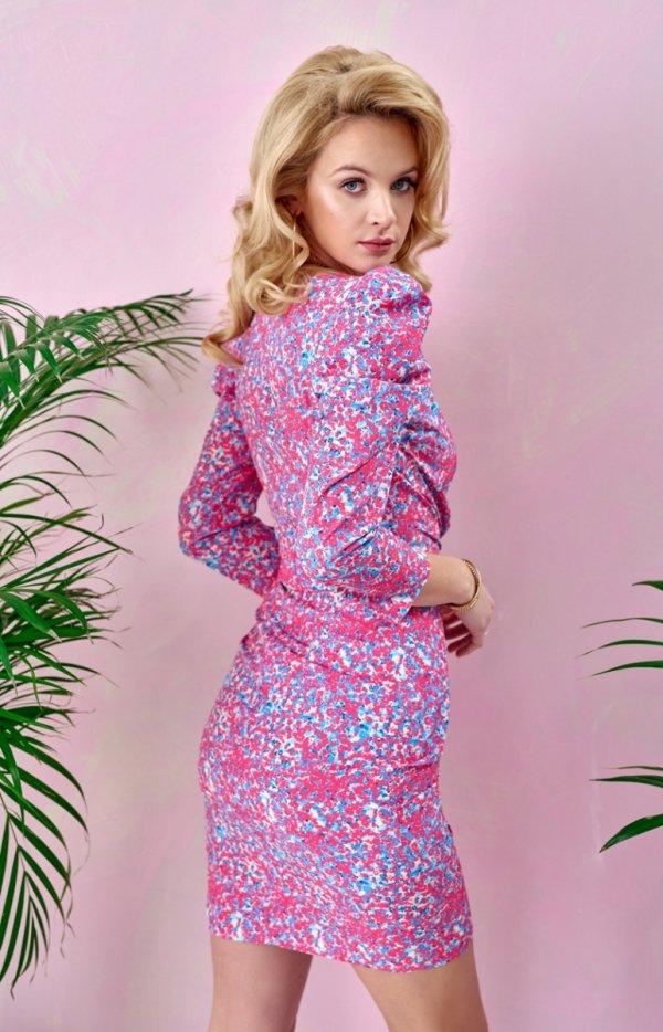 Ołówkowa sukienka w kwiaty 0329/S98 tył