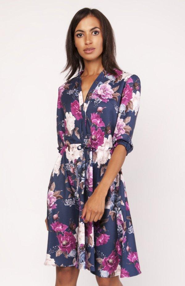 Sukienka o rozkloszowanym dole w kwiaty SUK155