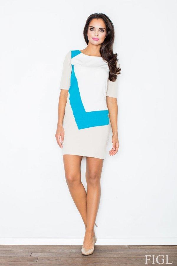 Figl M118 sukienka niebieska