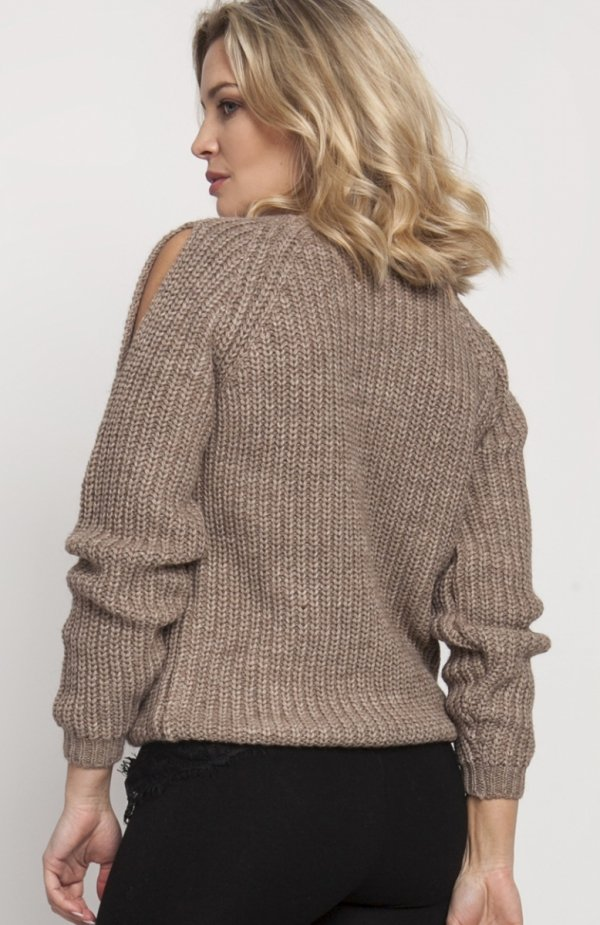 Raglanowy sweter mocca SWE126 tył