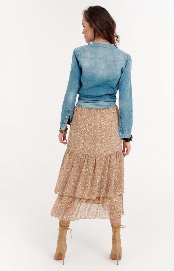 Spódnica midi z falbanami 027/R19 tył