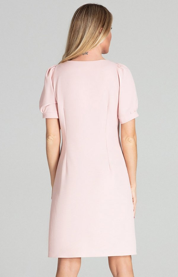 Sukienka w kratę Figl M704 pudrowy róż tył