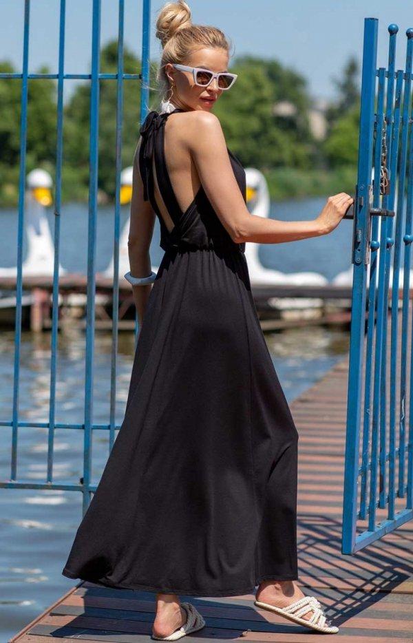 Efektowna sukienka maxi czarna tył