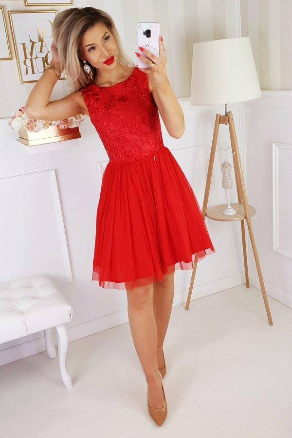 Czerwona sukienka z tiulem 2179-02-2