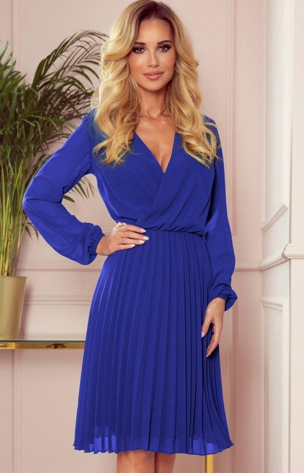 Elegancka sukienka z plisowaniem Numoco 313-3