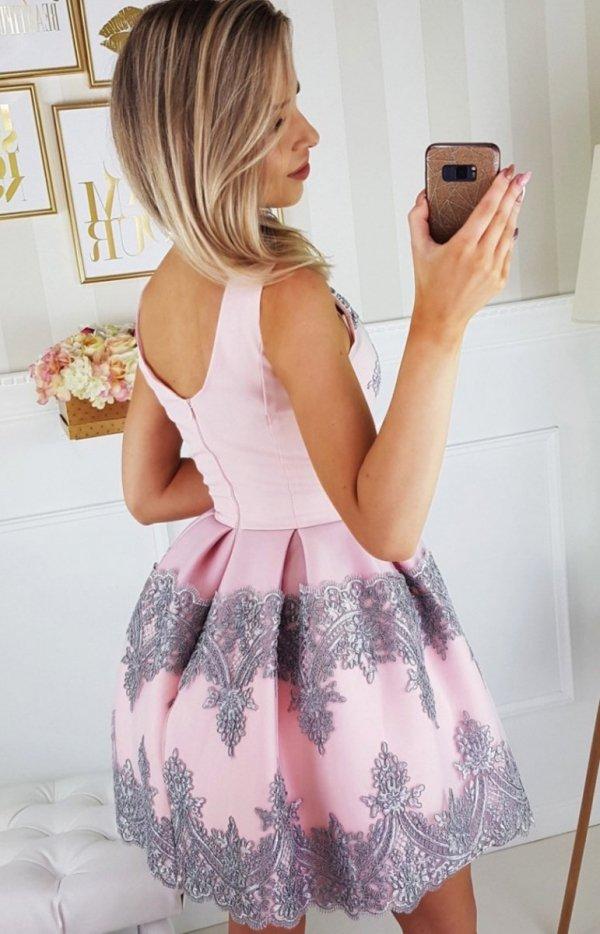 Elegancka koronkowa sukienka 2136-33 tył