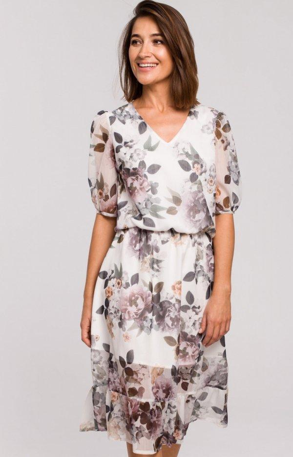 Sukienka midi w kwiaty S215/1