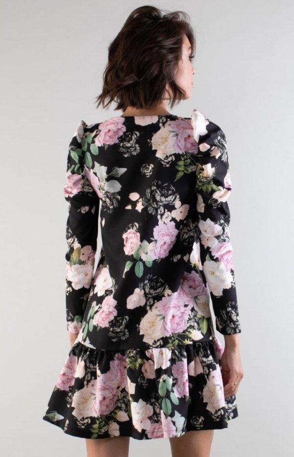 Luźna sukienka z falbanką w róże NA195LP tył