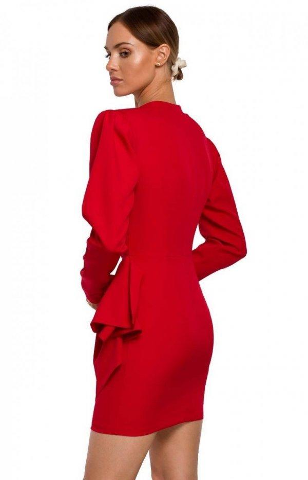 Elegancka mini sukienka z falbaną M531 tył