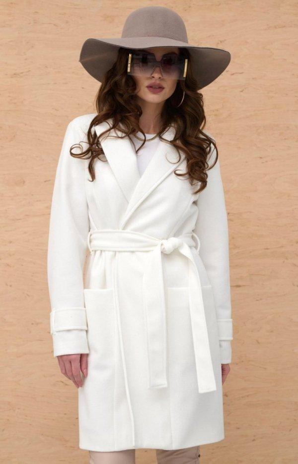Wiązany płaszcz damski ecru 0019