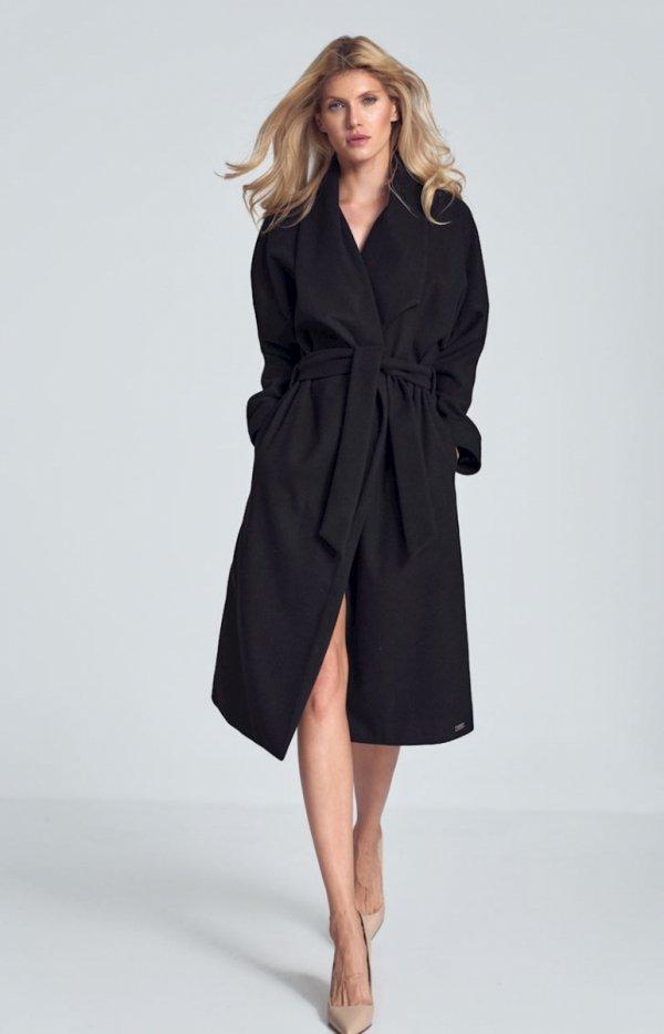 Czarny jesienny płaszcz damski M713-2