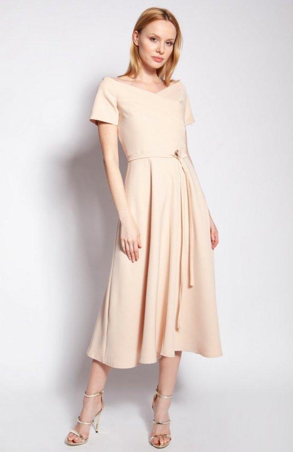 Sukienka trapezowa midi beżowa SUK181