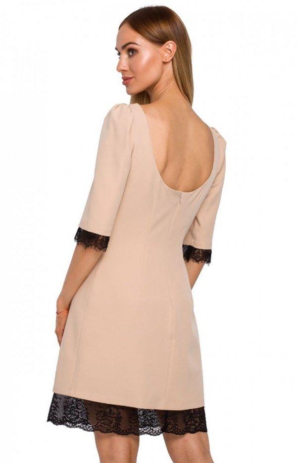 Sukienka z odkrytymi plecami Moe beżowa M489 tył