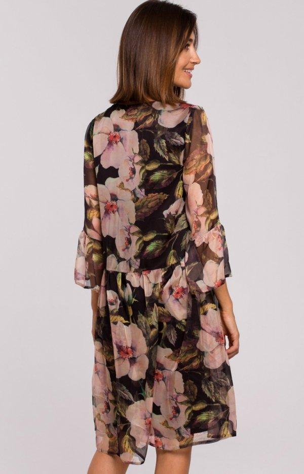 Oversizowa sukienka w kwiaty S214/3 tył