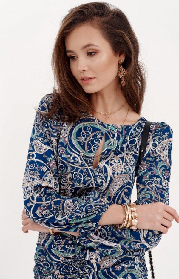 Ołówkowa sukienka z bufiastymi rękawami 0280/S23-1
