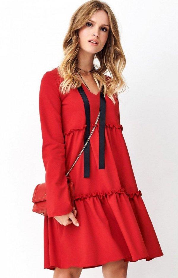 Dzianinowa sukienka rozkloszowana NU269