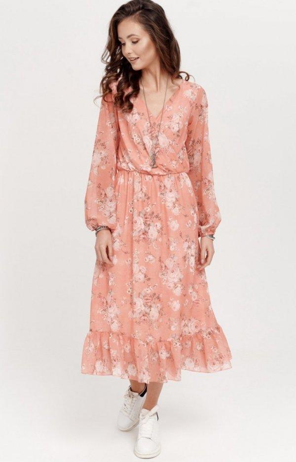Sukienka midi z falbaną w kwiaty 0241/R12