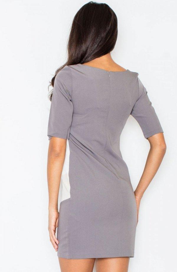 Figl M118 sukienka beżowa tył