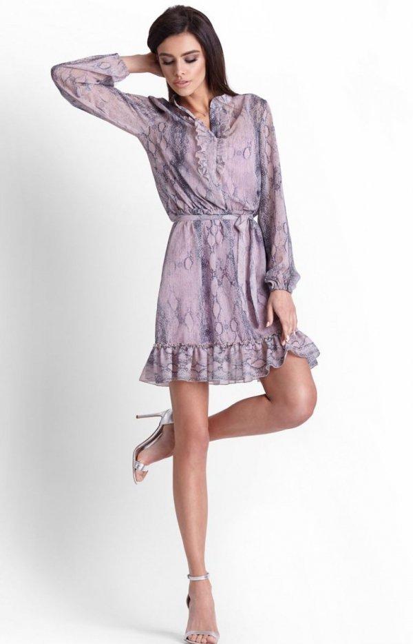Szyfonowa sukienka na gumie w kwiaty Leila-1