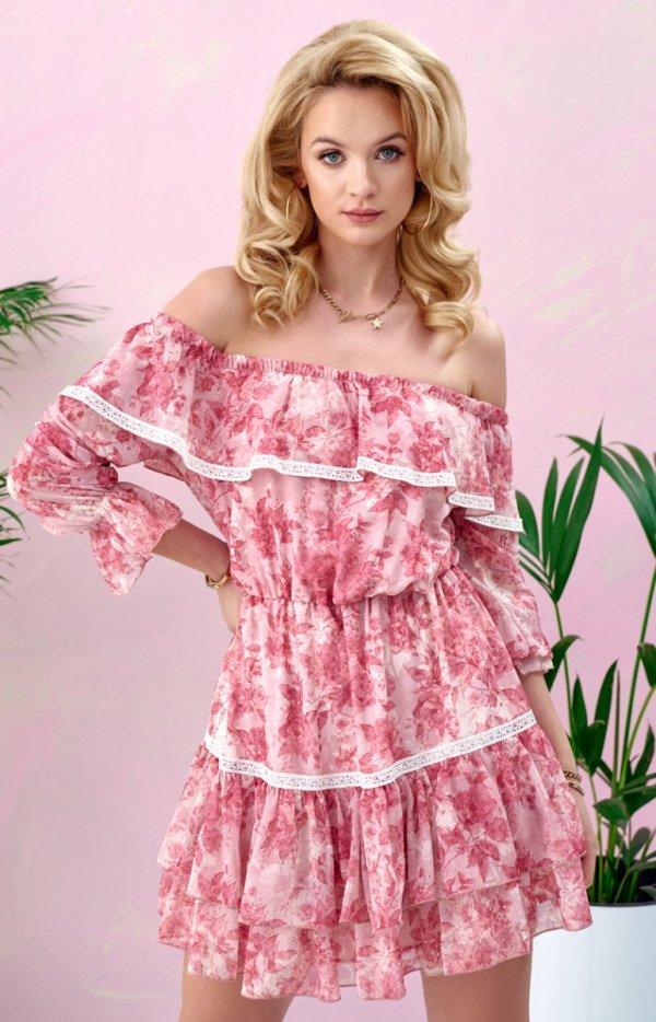 Kobieca sukienka hiszpanka w kwiaty 0328/R07