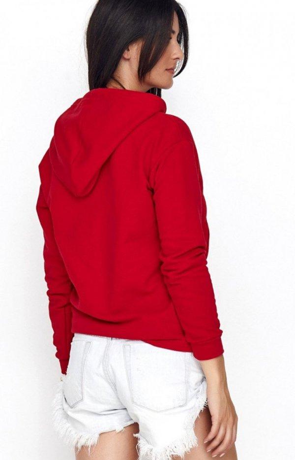 Sportowa bluza z kapturem czerwona NU209 tył