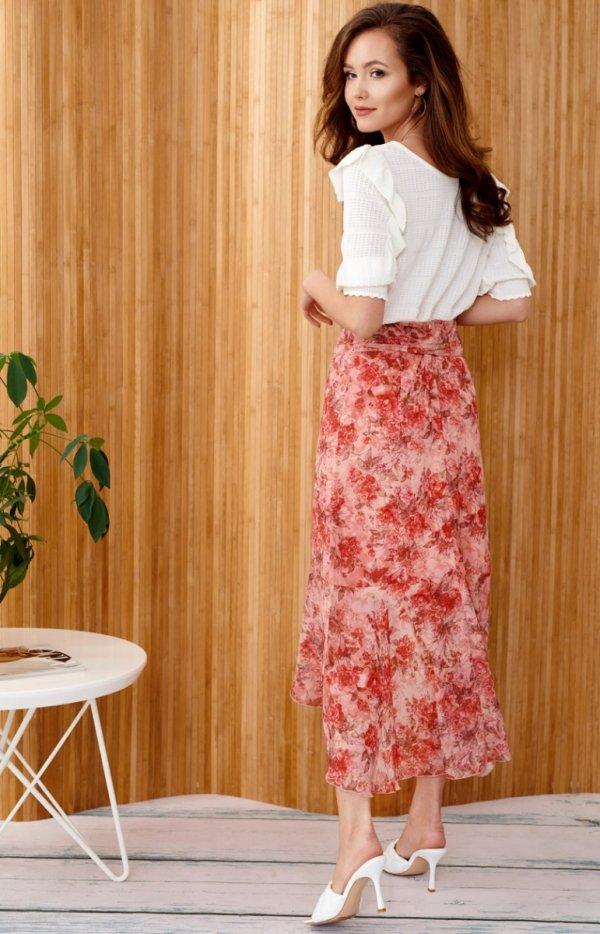 Zwiewna spódnica z falbanami 0029/D97 tył