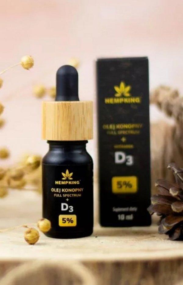 HempKing Olej konopny 5% z witaminą D3