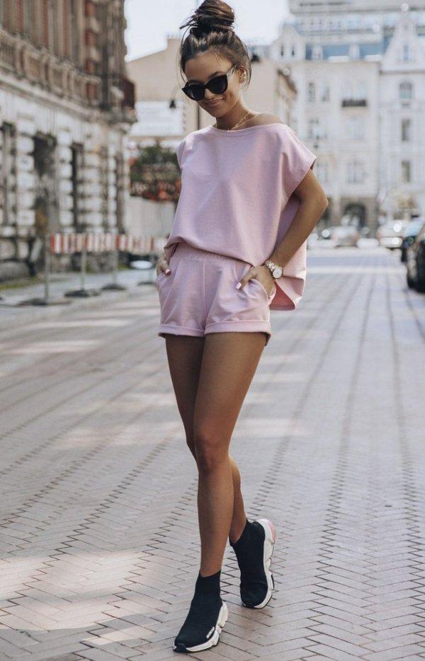 Różowy komplet dresowy Comfort-1