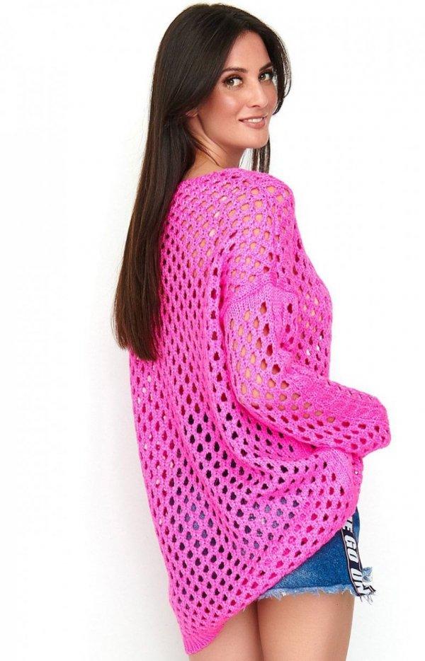 Ażurkowy sweter neonowy różowy S59