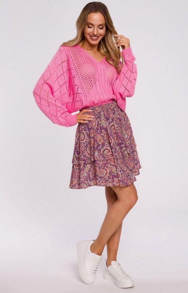 Lekki ażurowy sweterek róż M595-1