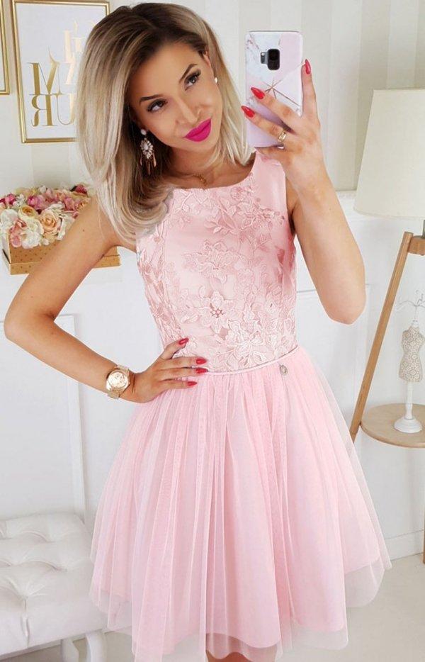 Bicotone sukienka z koronką pudrowy róż 2179-12