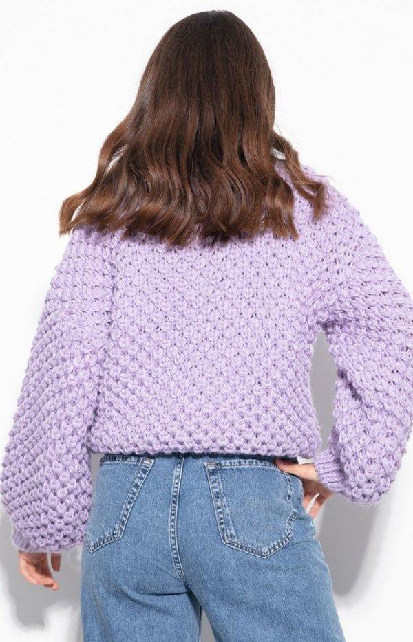 Ciepły gruby sweter damski fioletowy F1135 tył