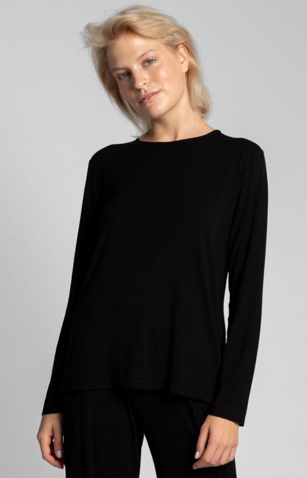 Wiskozowa czarna bluzka z rozcięciem na plecach LA027