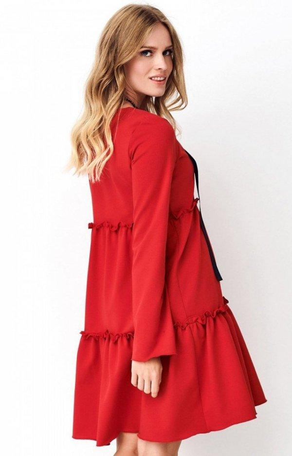 Dzianinowa sukienka rozkloszowana NU269 tył