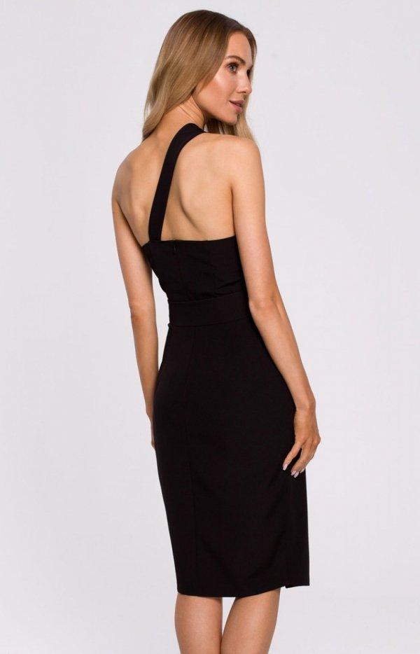 Elegancka czarna sukienka na jedno ramię M572 tył