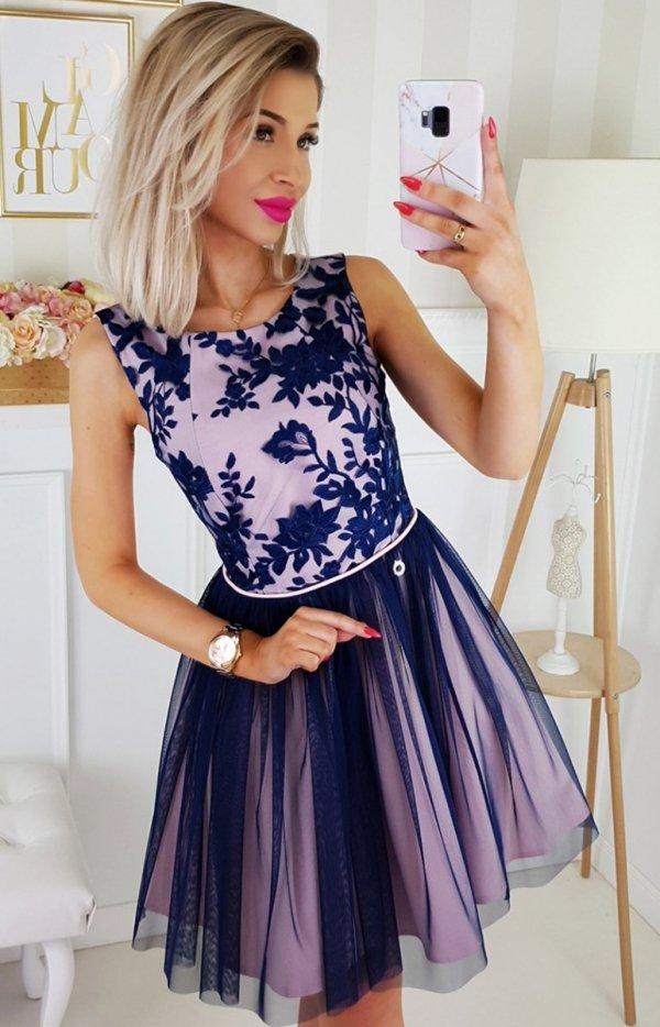 Bicotone sukienka z koronką różowo-granatowa 2179-11